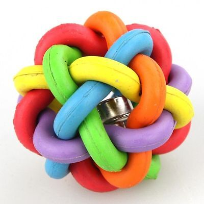 5CM Pet Puppy Rubber Braided Dog Cat Bone Rope Chew Knot Toy Ball Sound Bell