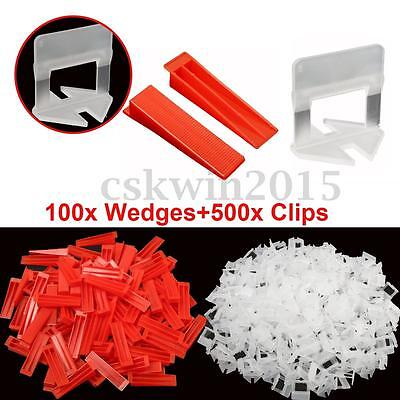600 Tile Leveling System -100 Wedges +500 Clips Spacers Plastic Tiling Tools New
