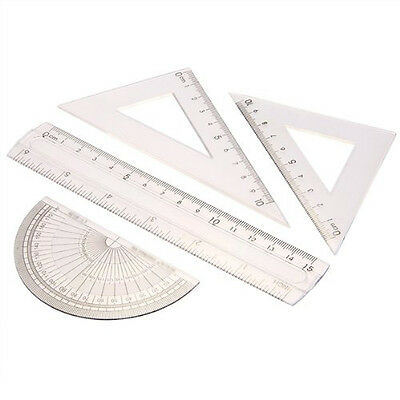 D6 Students Maths Geometry Stationery Ruler Set Squares Protractor