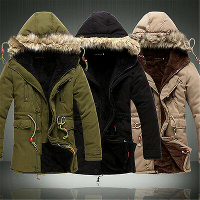 New Men's Warm Jackets Parka Outerwear Fur lined Winter Long Coat Hooded