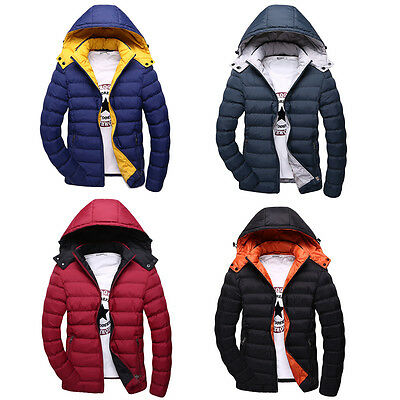 Men's Fashion Winter Casual Hooded Jacket Thick Warm Coat Slim Fit Outwear Down