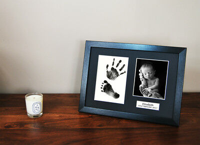 Personalised Hand print Footprint Kit Baby Shower Gift Christening Black Frame