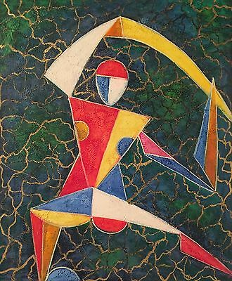 Bright and colourful Abstract Figure Oil Painting on Canvas Twentieth Century