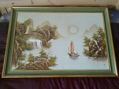 """Large Oriental Oil on Canvas Signed Framed 41"""" x 29"""""""