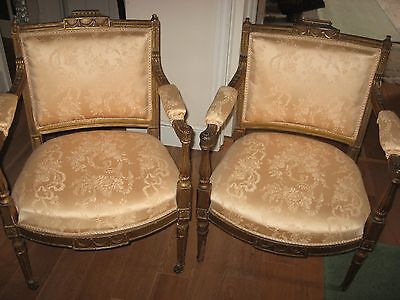 Pair Gilt chairs upholstered Fauteuils armchair salon late 19th / 20th century