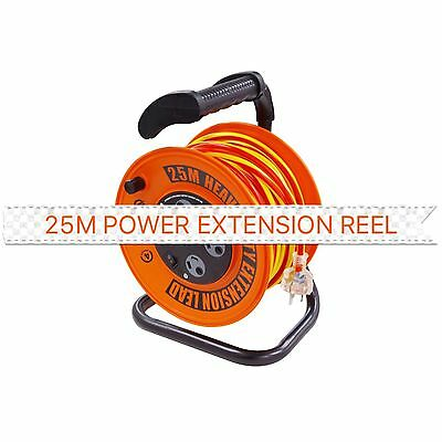 25M Power Extension Cord Cable Reel With 4 Way Power Board - 25 Meters