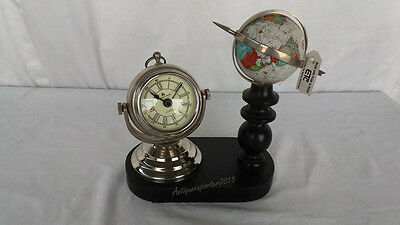 Home AND Office Decor Contemporary Table World Globe With Nautical Table Clock
