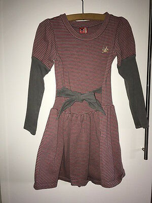 No Added Sugar Warm winter Dress Pink and Grey Stripes Age 5-6 years