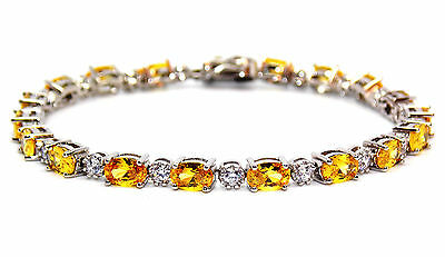 Sterling Silver Citrine And Diamond 7.86ct Tennis Bracelet (925)
