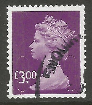 2009 SG U2915 £3.00 DEEP MAUVE SECURITY HIGH VALUE - VERY FINE USED as SCAN