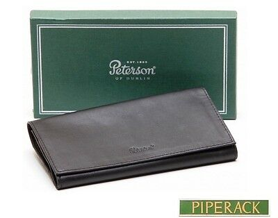 NEW Peterson Roll Up Pipe Tobacco Pouch Leather Boxed Black