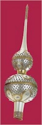 Silver and Gold Glass Christmas Tree Topper Finial