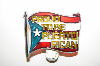 """Stained Glass Style """" Puerto Rican Flag """"  Night Light"""