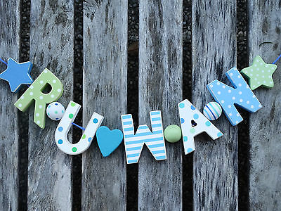 """""""ruwan"""" Shabby Wooden Wall Letters Door Name Baby Shower Decoration Nursery Gift"""
