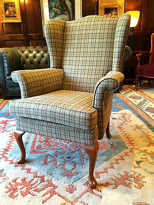 Beautiful Antique Style Wingback Armchair Mahogany S Rouse & Co Tweed Beige