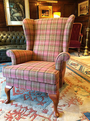 Beautiful Antique Style Wingback Armchair Mahogany S Rouse & Co Tweed Pink