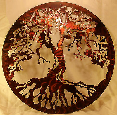 "16"" Tree of Life Silhouette Metal Wall Art Home Decor Copper Patina Finish"