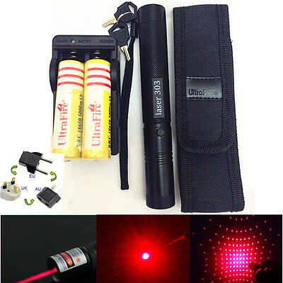Military Powerful Red 1mW 650NM Laser Pointer Pen 303 Light Beam ZOOM + Battery