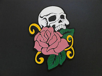 50% grand patch cuir écusson skull & rose gold Biker leather harley chopper