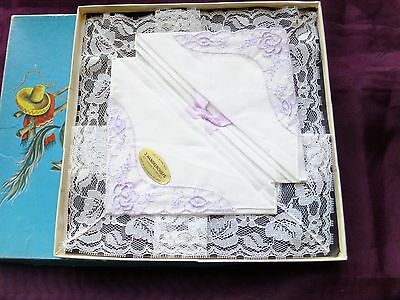 Vintage boxed ladies'handkerchieves;edged with Nottingham Lace