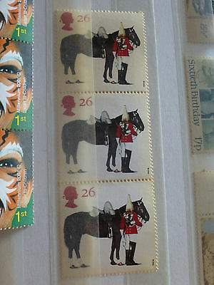 British Stamps Lifeguards Horse and Trooper 26p Block of 3