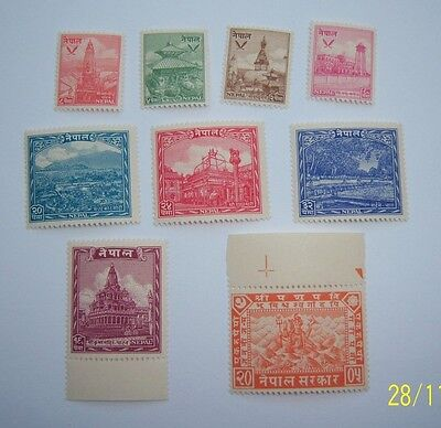 Nepal 1949 issue. NHM.  Hindu Temple's and other structures.