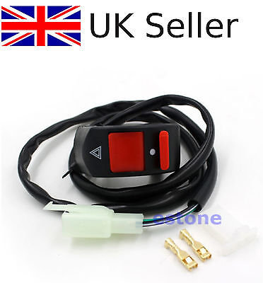 """7/8"""" Universal Handlebar Accident Motorcycle Hazard Light Switch ON/OFF Button"""