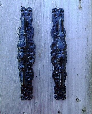 2 Large 9 3/4 Cast Iron Gate Pull Barn Door Shed Pull Handle Black FREE SHIP
