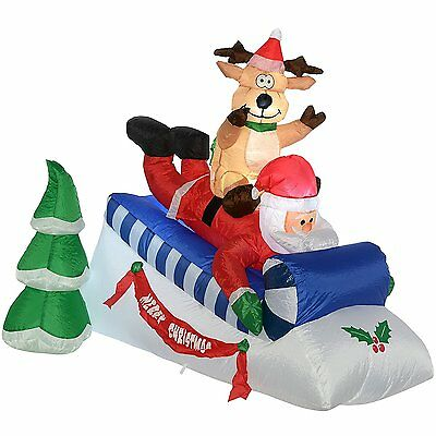 Santa and Reindeer Sleigh With LED Lights & Fan Large Inflatable Xmas Decoration