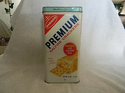 Vintage Nabisco Saltine Cracker Tin Container 1969 Now With Enriched Flour