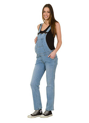USKEES GRACE Maternity Dungarees - Palewash Denim Blue Pregnancy Overalls jean