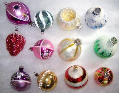 Vintage Assorted Glitter Glass Ornaments West Germany Indent