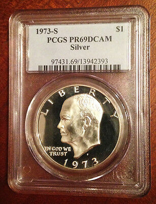 1973 S $1 Silver Ike Eisenhower Dollar Proof PCGS PR69DCAM ~ Free Shipping
