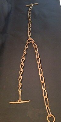 "Very Cool Rustic Chain Hanger W/ Metal Bar VERY OLD Approx 44"" Neat Primitive"