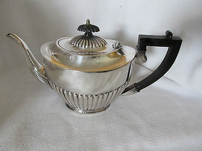 Sheffield Mid Century  Epns England Aladin Style Deco Blackhandled Tea Pot