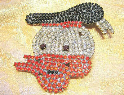 Brooch Disney Vintage Rhinestone Donald Duck Large Pin