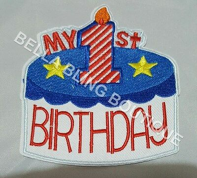 1 Embroidery Applique Boys My First Birthday Iron On Sew On Patch Clothes