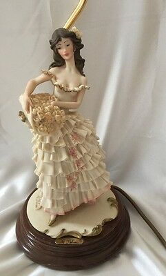 VINTAGE CAPOdiMONTE TABLE LAMP A. BELCARI LADY & BASKET OF FLOWERS 1987