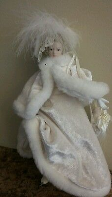 7 inches porcelain doll ice skating lady winter clothes