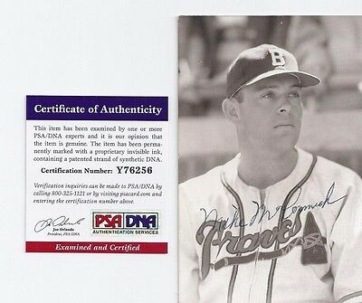 Mike McCormick Boston Braves Baseball Autographed Rowe Postcard Photo PSA COA