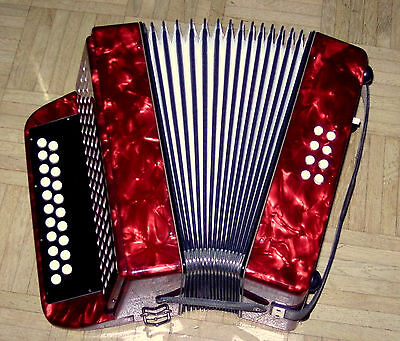 Made In Germany Meteor Weltmeister  Diatonic  Button  Accordion  Case  + Straps
