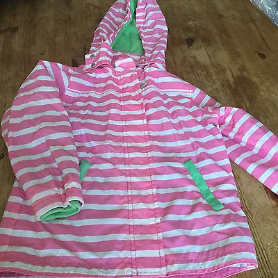 Girls Mini Boden Pink White Striped Coat 7-8 Years