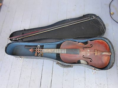 Antique Violin And Bow Signed Francois Salzard Made In Germany