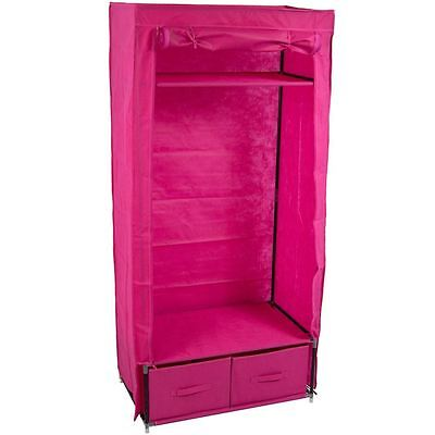 Double Storage Wardrobe Pink Canvas Clothes Garment Rail By Home Discount