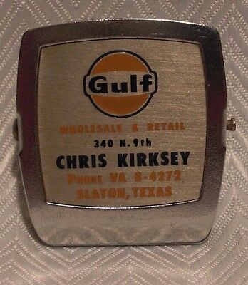 Vintage Advertising - Gulf Oil Metal Clip w/ Magnet - Ad Display - Gas & Oil