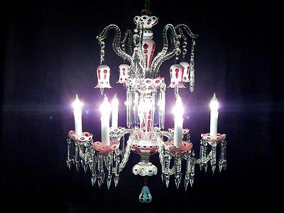 White Overlay Cranberry Glass Chandelier