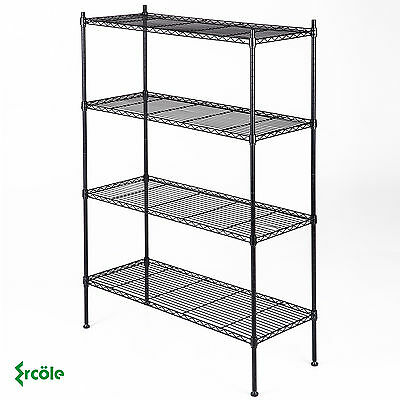 "4 Tier 55""x36""x14 Kitchen Storage Shelving Steel Wire Adjustable Black Shelves"