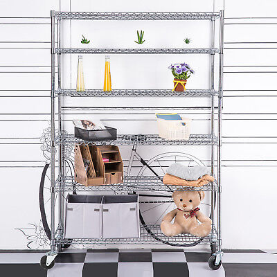 "6 Tier Wire Shelving Rack 82""x48""x18"" Steel Shelf Adjustable Chrome"