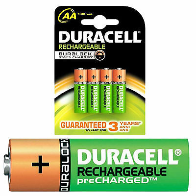 4 x Duracell AA 1300 mAh PRE/ STAY CHARGED Rechargeable Batteries NiMH HR6 phone
