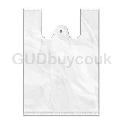 """10 x 15 x 18"""" 100 x SMALL WHITE PLASTIC POLYTHENE VEST STYLE CARRIER BAGS"""